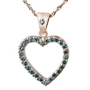 CT T.W. VS2 BLUE ROUND CUT DIAMOND HEART PENDANT 14K SOLID ROSE GOLD
