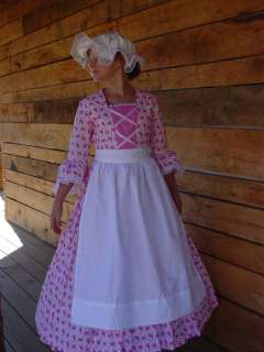 Historical Costume Colonial Girl Dress ~Pink Day Dress~ Child 6/7