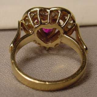 Beautiful Vintage Heart Shaped Ruby Diamonds 14K Gold Ring