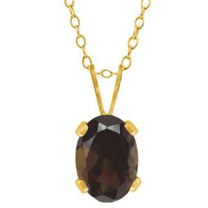 0.75 Ct Oval Shape Brown Smoky Quartz Yellow Gold Plated