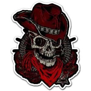 Skull Cowboy Sheriff Texas Police Car Bumper Sticker Decal