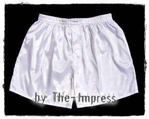 02 White Boxer Shorts Underwear Mens Thai Silk Boxers