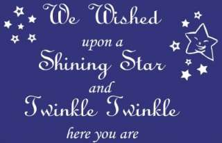 We Wished upon a Shining Star Twinkle Twinkle Baby Nursery Quote Wall