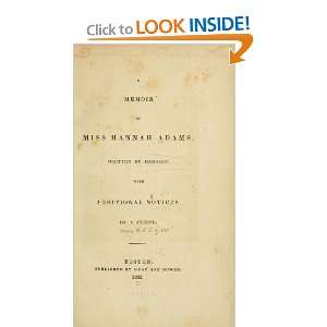 A Memoir Of Miss Hannah Adams Hannah Adams Books