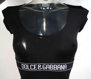 DOLCE & GABBANA womens logo T shirt microfiber D&G (black) NWT