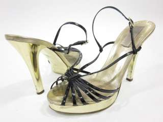 MICHAEL KORS Black Gold Strappy Pumps Shoes Sz 7.5 M