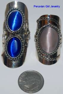 CATS EYE BEAD RINGS HANDCRAFTED METAL JEWELRY PERU NR