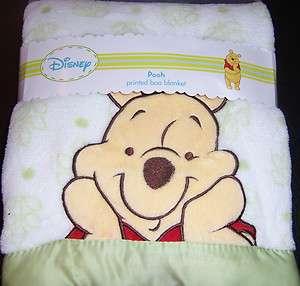 New Disney Winnie Pooh Printed Boa Baby Blanket Lovey Wht & Green 30
