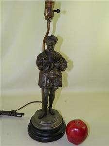 ANTIQUE FIGURAL SPELTER BRONZED METAL LAMP SCULPTURE (MASON)