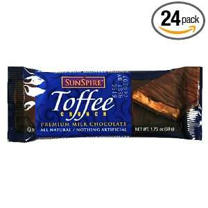 SunSpire Toffee Crunch Premium Milk Chocolate, 1.75 Ounce Bars (Pack