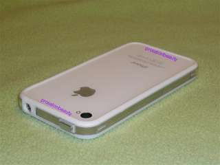 Apple iPhone 4 4G White Clear Bumper Case Metal Buttons