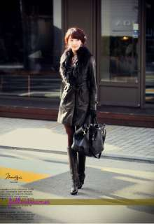 New Womens winter Leather coat luxurious removable fur collar coat
