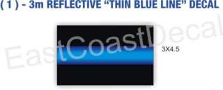 POLICE THIN BLUE LINE  EMERGENCY 911 REFLECTIVE 1 DECAL