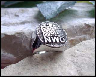 ORIGINAL AJS © NWO NEW WORLD ORDER RING SURGICAL STEEL GERMANY IRON