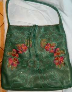Carlos Falchi Deep Emerald Green Pebble Leather Embroidered,Studs Tote