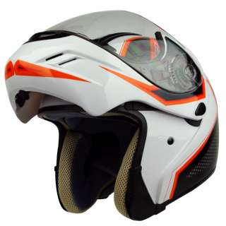 PGR MEGA White Orange Flip Up Modular DOT APPROVED Motorcycle Full