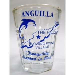 Anguilla, BWI Vintage Map Outline Shot Glass: Kitchen & Dining