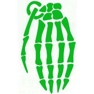 GRENADE GLOVE SKELETON HAND   6 GREEN Vinyl Decal Window