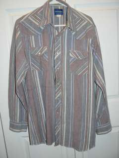 Mens WRANGLER Western Cowboy Pearl Snap Button Down Long Sleeve Shirt