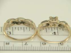 Vintage 14K 1940S Yellow Gold Diamond Wedding Set