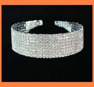 ROW CLEAR RHINESTONE CHOKER NECKLACE PARTY WED N077S