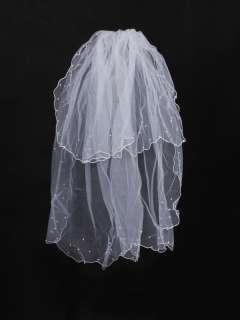 007 2T 2 Tier Elbow Length White Bride Bridal Wedding Veil w Beading