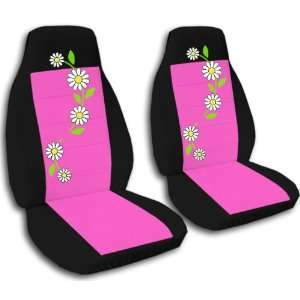 2 Black and hot pink seat covers with Daisies for a 2012