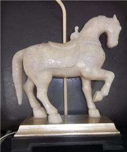 Stunning Oriental Chinese Armored War Horse Table Lamp