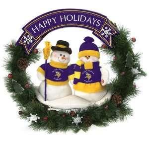 Scottish Christmas Minnesota Vikings NFL Team Snowman Wreath 20 inches