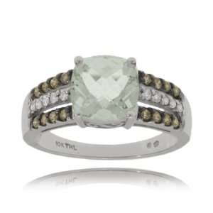 Green Amethyst Ring in White Gold w/ Champagne Diamonds