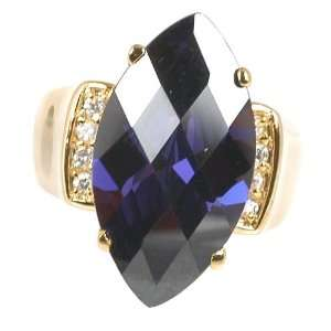 Marquise Checkerboard Cut Amethyst CZ Gold Plate Jewelry