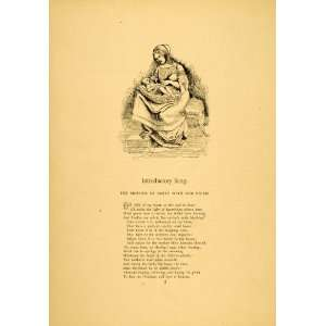 1879 Print Mother Child Baby Poem Friedrich Froebel