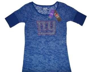 New York Giants NFL Alyssa Milano Touch Womens Jeweled Logo Top Shirt