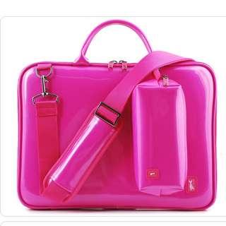 Women LAPTOP Bag SLEEVE CASE Enamel Pink color Pattern+shoulder Strap