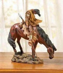 Statue Reproduction~American Indian with Spear & Horse ~Color