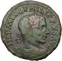 Viminacium Sestertius LEGIONS Ancient Roman Coin Moesia BULL LION