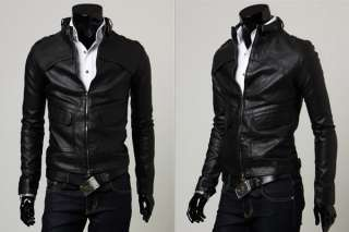 NEW Mens Slim Designed Sexy PU Leather Short Jacket Coat 2 Color 4