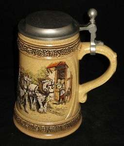 Gerz Lidded Ceramic Beer Stein, Pewter Lid, Beer Keg