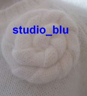 & ROLF Purple or Ivory Angora Wool Fluffy Rosette Sweater M