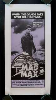 MAD MAX * AUSTRALIAN ORIG MOVIE POSTER LINEN 1980