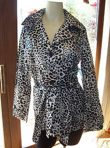 Dana Buchman Womens Size Small Animal Print Black White Trench Jacket