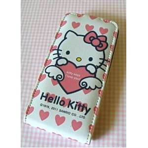 Hello Kitty iPhone 4 White with Pink Hearts Cover Case with Lid with