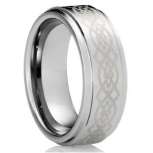 8MM Mens Tungsten Carbide Ring Wedding Band with Celtic Design [Size
