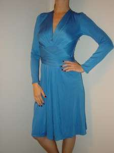LONDON silk jersey blue Royal engagement dress US6 UK10 NEW
