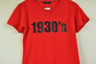 NEW Womens Vintage 1930s red Short sleeve Casual T shirt tops