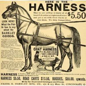 1890 Ad Antique Barkely Dog Goat Horse Harnesses Carts