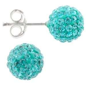 Sterling Silver Aqua Blue Crystal Ball Stud Earrings Jewelry