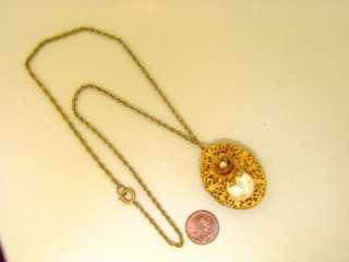 Miriam Haskell Baroque Pearl Filigree Locket Russian Gold Vintage