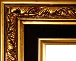 PICTURE FRAME WOOD GOLD BLACK VELVET LINER ORNATE WEDDING PHOTO ART 2