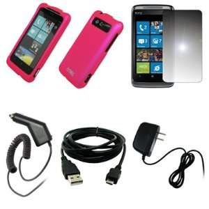 Hot Pink Rubberized Hard Case Cover + Mirror Screen Protector + Car
